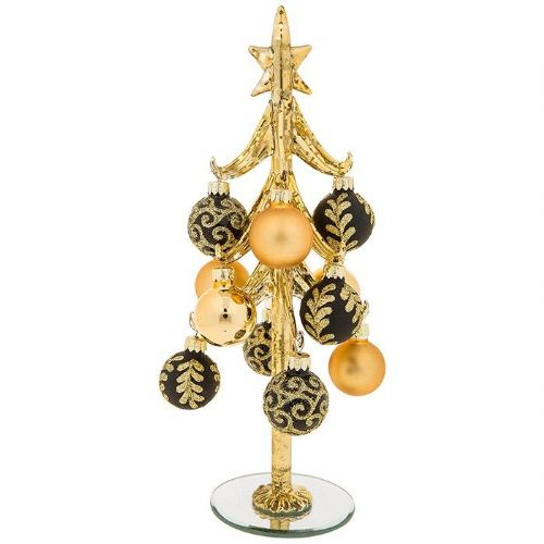 Large Gold Glass Christmas Tree with Gold and Black Baubles